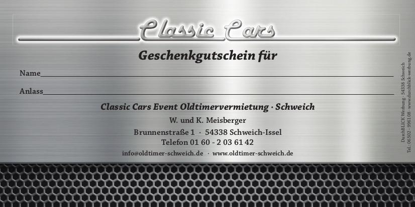 Classic Cars Gutschein - Rückseite